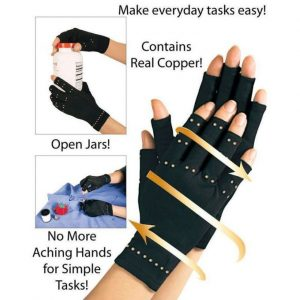 Generic 1pair NEW Brand Copper Hands Arthritis Gloves Therapeutic Compression Men Woman Circulation Grip(Black)